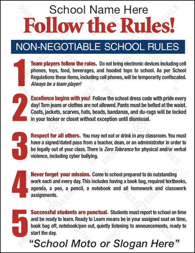 school rules and regulations Rules and regulations 1 golden rule: students should speak in english or french only at school to promote a good learning environment remember.