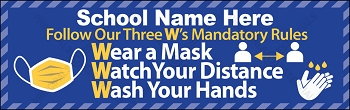 Three W's COVID Prevention Banner