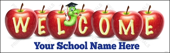 Welcome Worm Apples School Banner