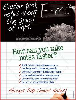 Einstein took notes about the speed of light.