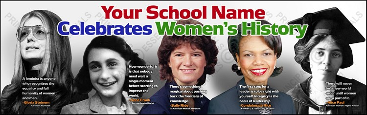 Women's History Month Banner with Famous Quotes