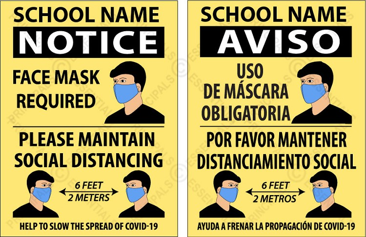 Social Distance/Masks Required Poster (Spanish)