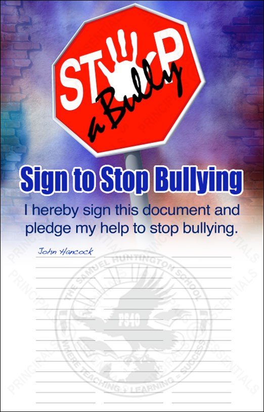 Sign to Stop Bullying Banner with School Logo