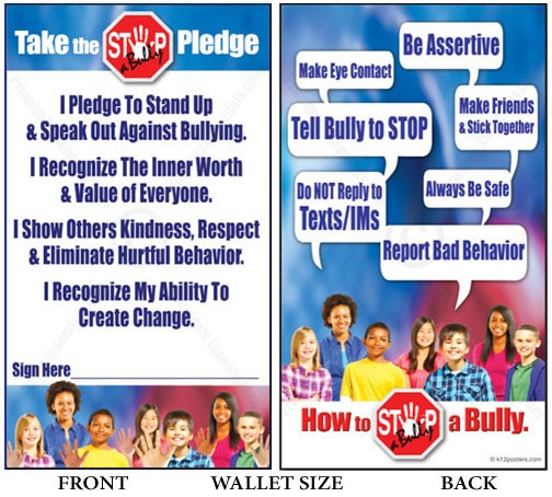 STOP-a-Bully Pledge Cards<br>500 Wallet-size Cards