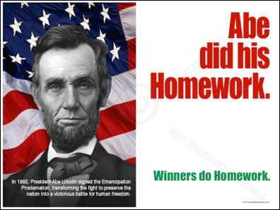 Abe did his Homework.